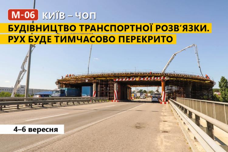 Траса Київ–Чоп буде закрита для руху транспорту – Причина